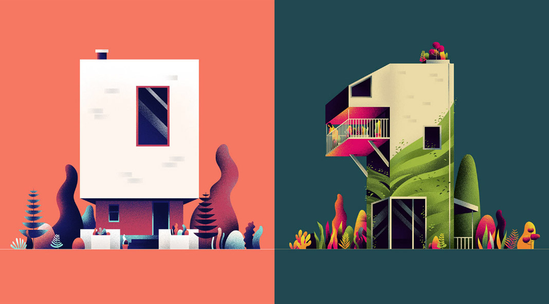 Illustrations of architectural numbers created by Muhammed Sajid for the 36 days of type project.