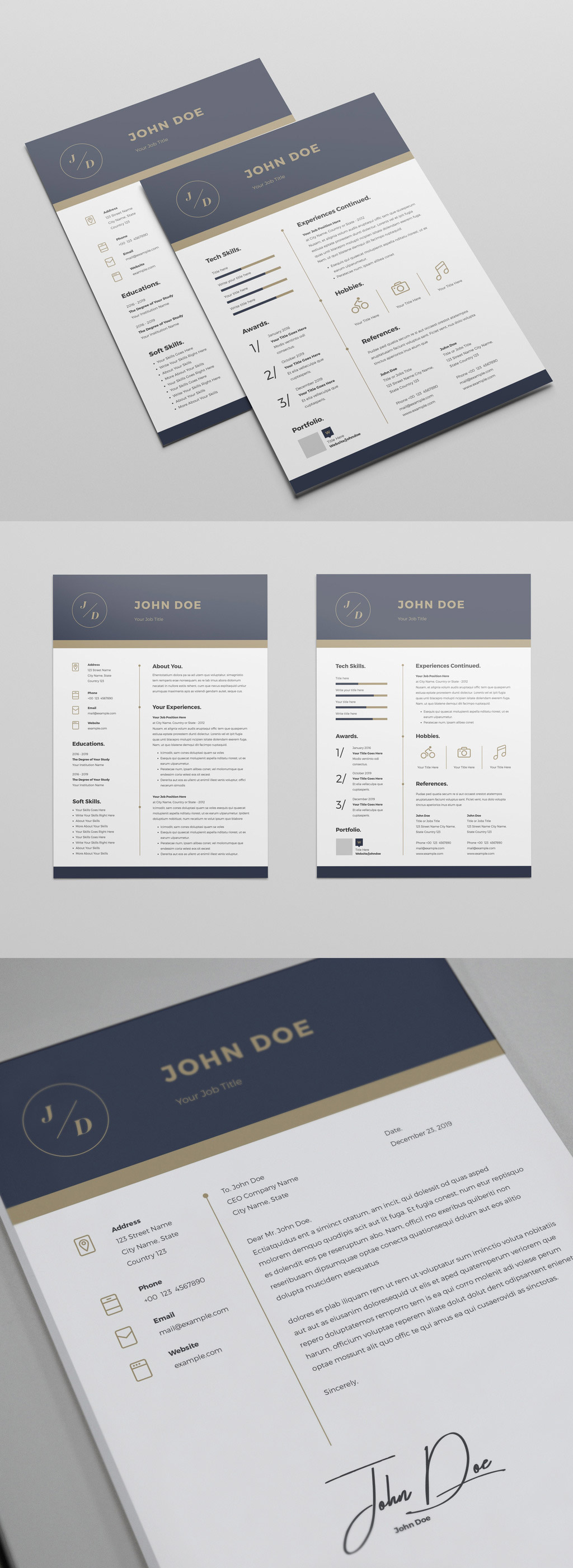 Resume InDesign Template with Blue and Gold Header