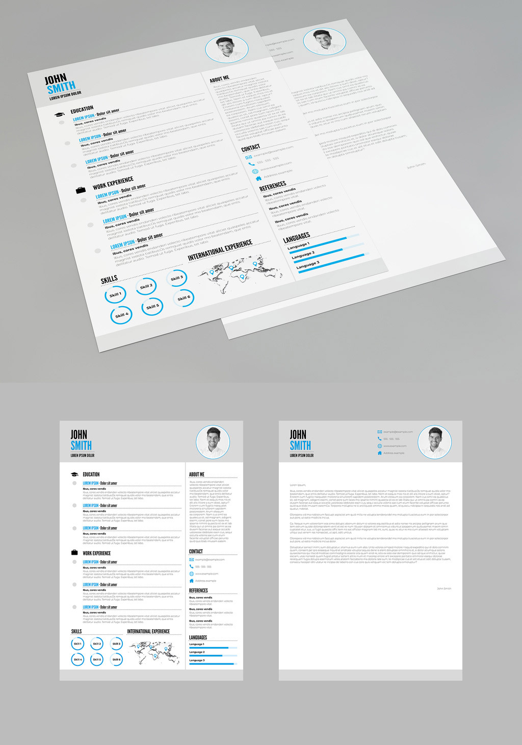 Resume and Cover Letter Template with Blue Accents
