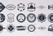 Set of 24 Vintage Logos and Badges designed by Roverto Castillo