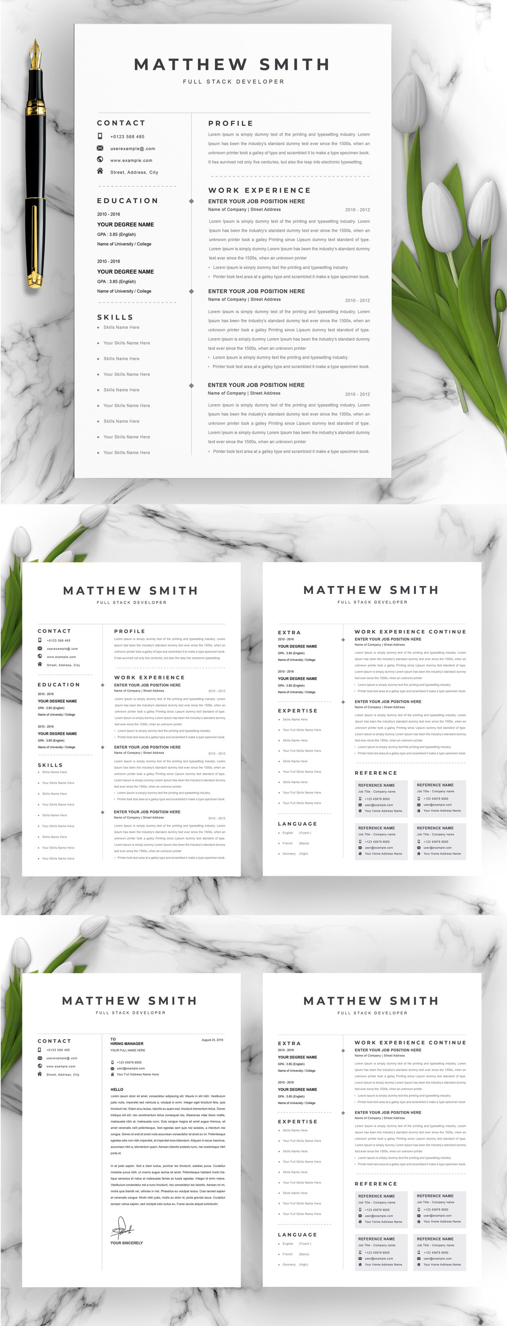 Simple Resume Adobe InDesign Template
