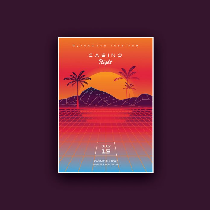 Synthwave Casino Night Poster Template.