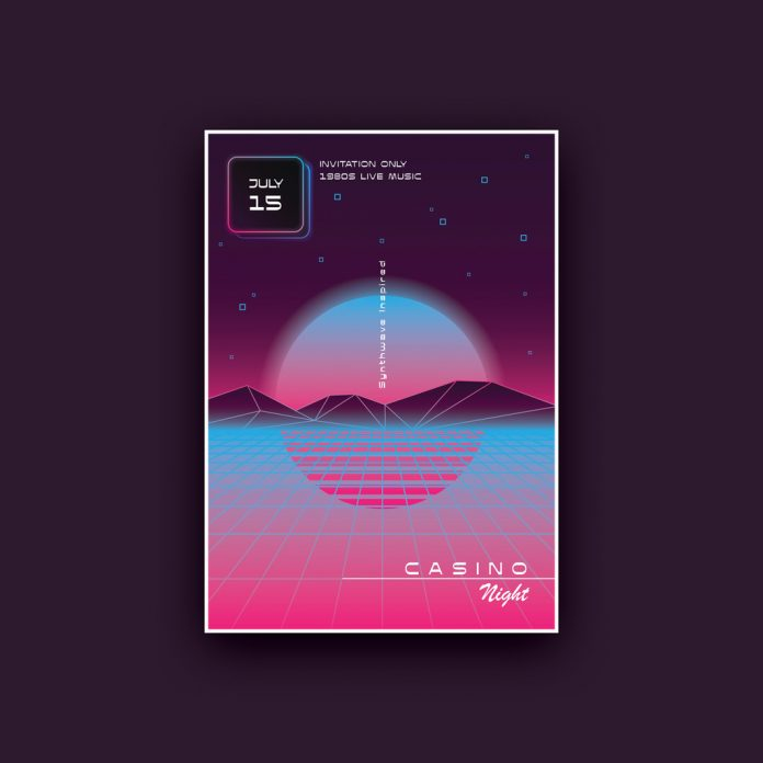 Synthwave Poster Template with Sunset Over the Ocean.