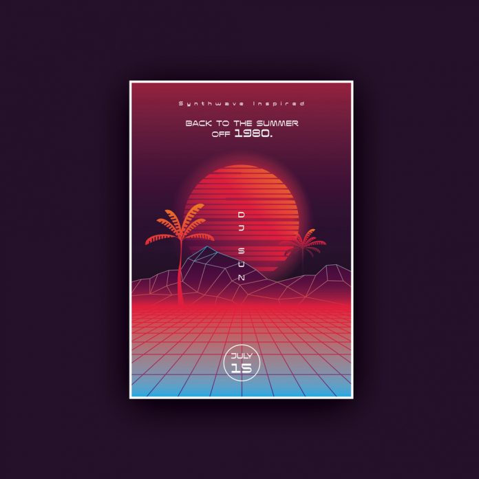 Synthwave Summer Poster Template with Sunset and Palm Trees.