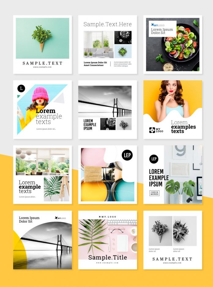 Colorful social media (Instagram) post templates for use in Adobe Illustrator.