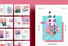 A fashionable pink portfolio template for Adobe InDesign.