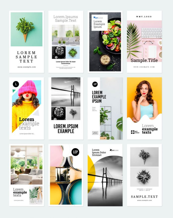 Colorful social media (Instagram) story templates for use in Adobe Illustrator.
