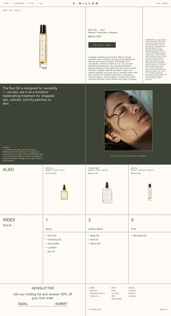 F.MILLER SKINCARE branding by Natasha Mead.