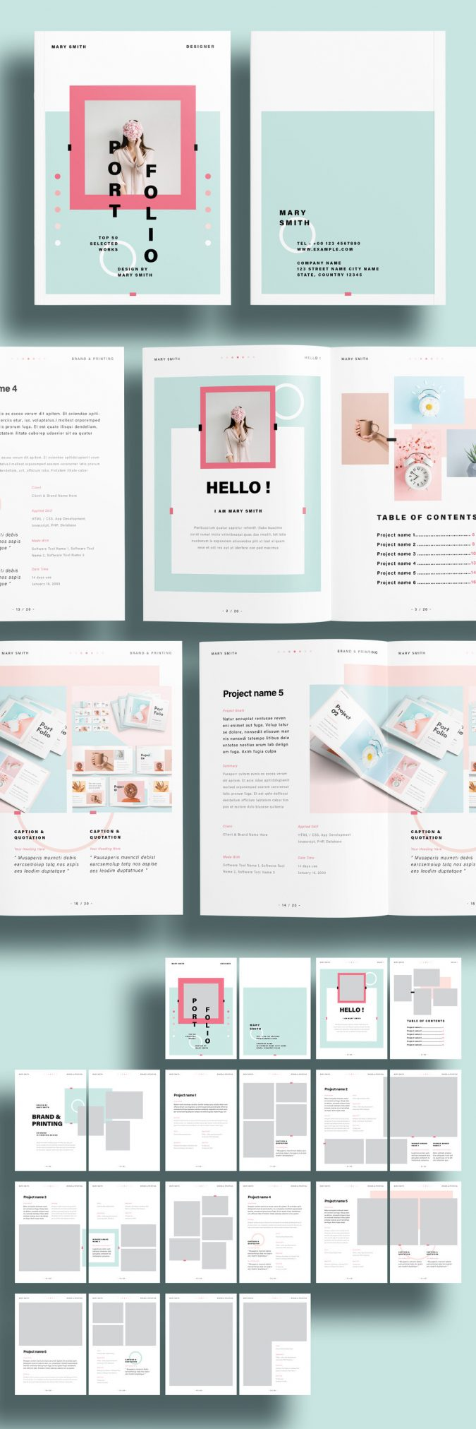 A modern and fresh portfolio template for Adobe InDesign.