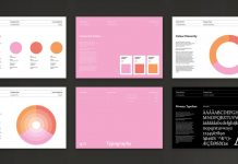 Adobe InDesign brand manual guidelines template with pink accents.