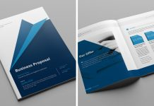 Business Proposal Template with Blue Accents for Adobe InDesign