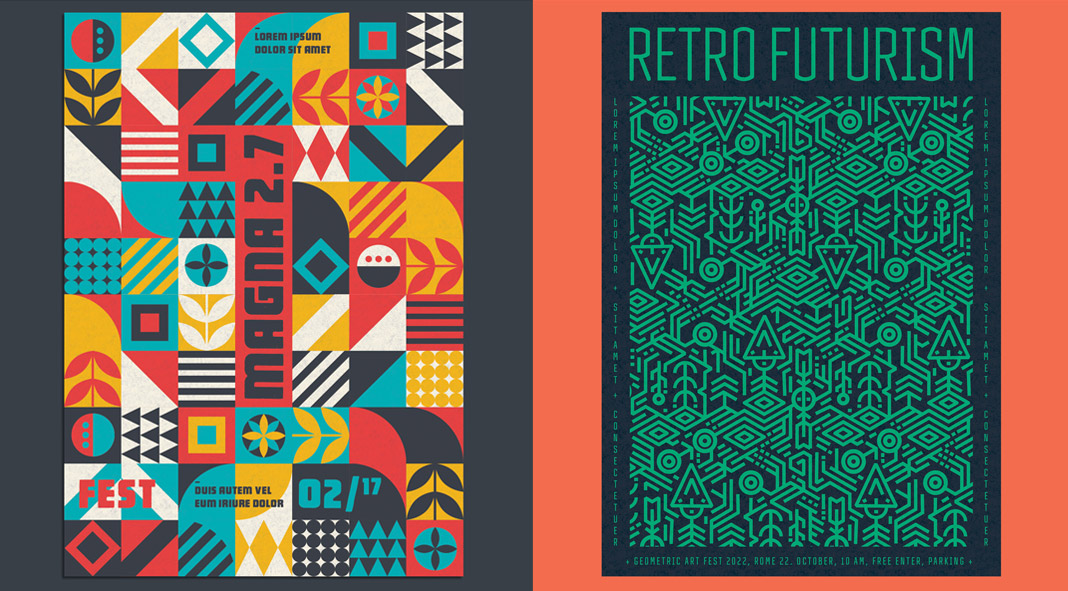 Four of the best geometric poster templates for Adobe Illustrator