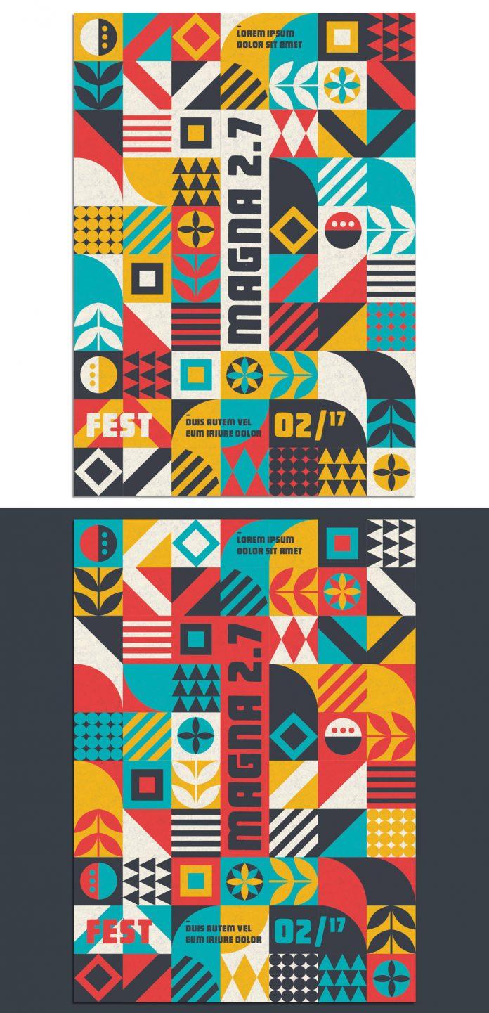 Modern Pop Art geometric pattern poster template.