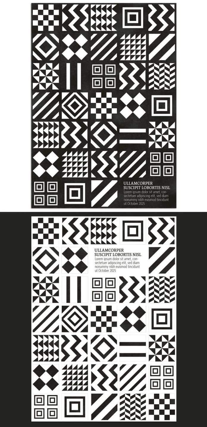 Monochrome geometric patterns background event poster template.