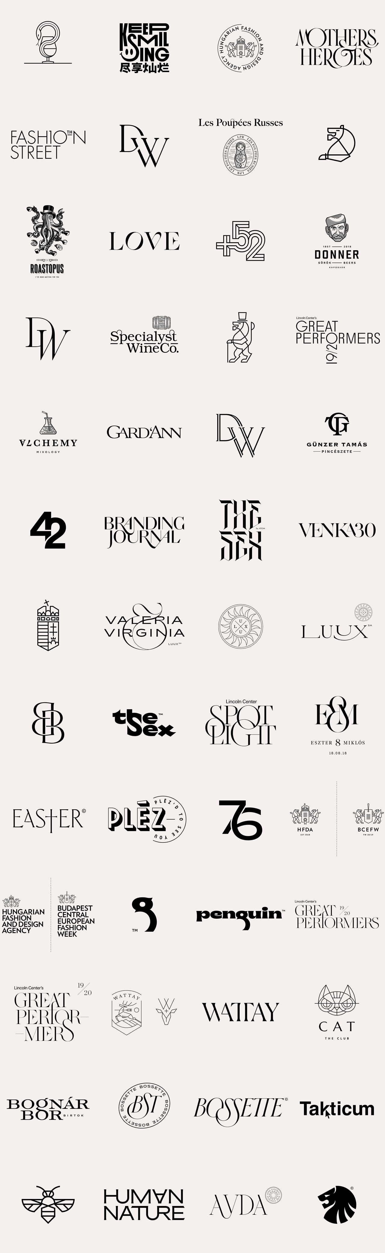52 logos by graphic designer Miklós Kiss.