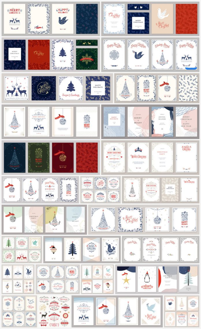 Download Christmas and holiday cards as fully editable graphic design templates.