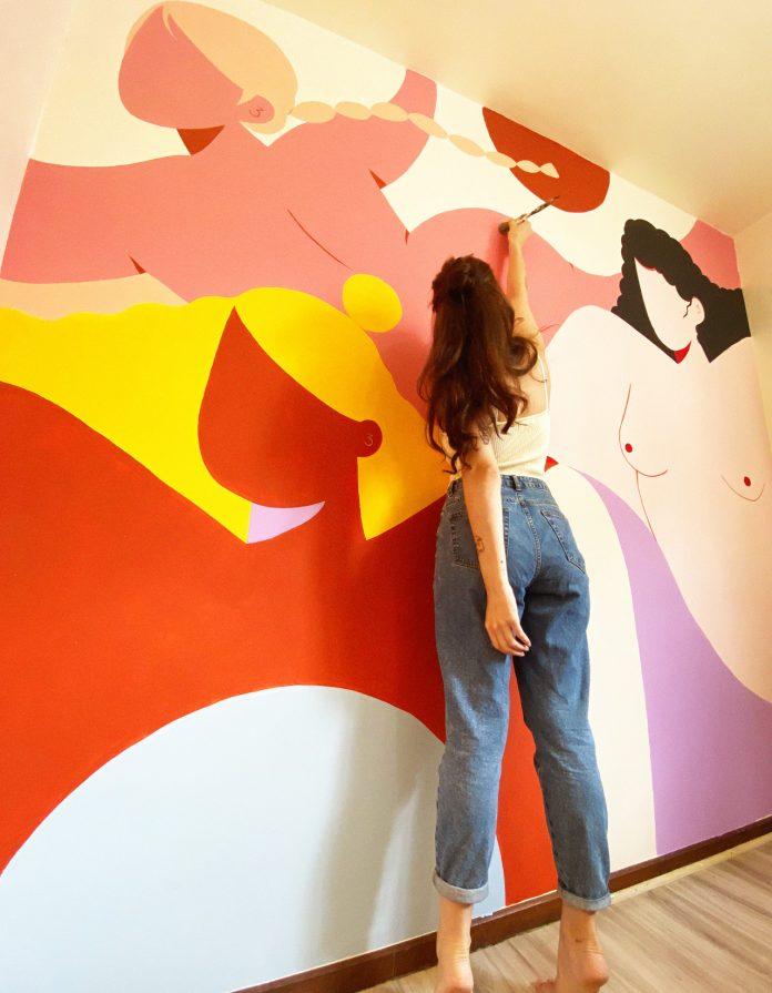 Tintas Verginia mural illustration by Erika Lourenço.
