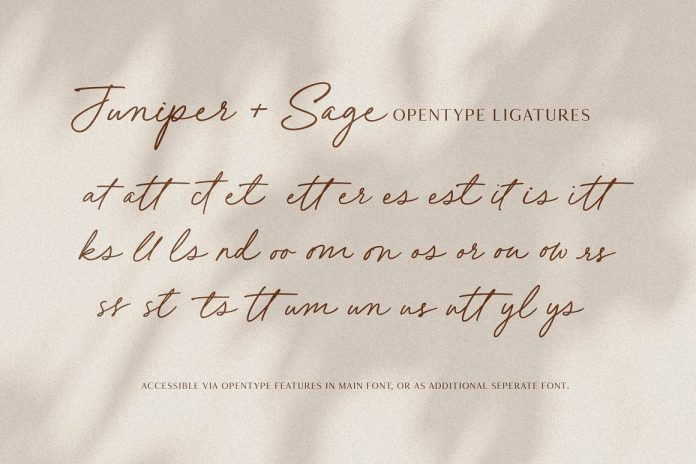Juniper and Sage Script Font by Nicky Laatz.
