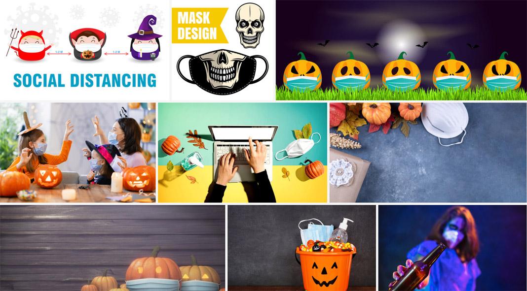 Halloween COVID-19 design templates 2020.