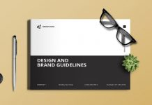 Minimalist black and white brand guidelines template for Adobe InDesign.