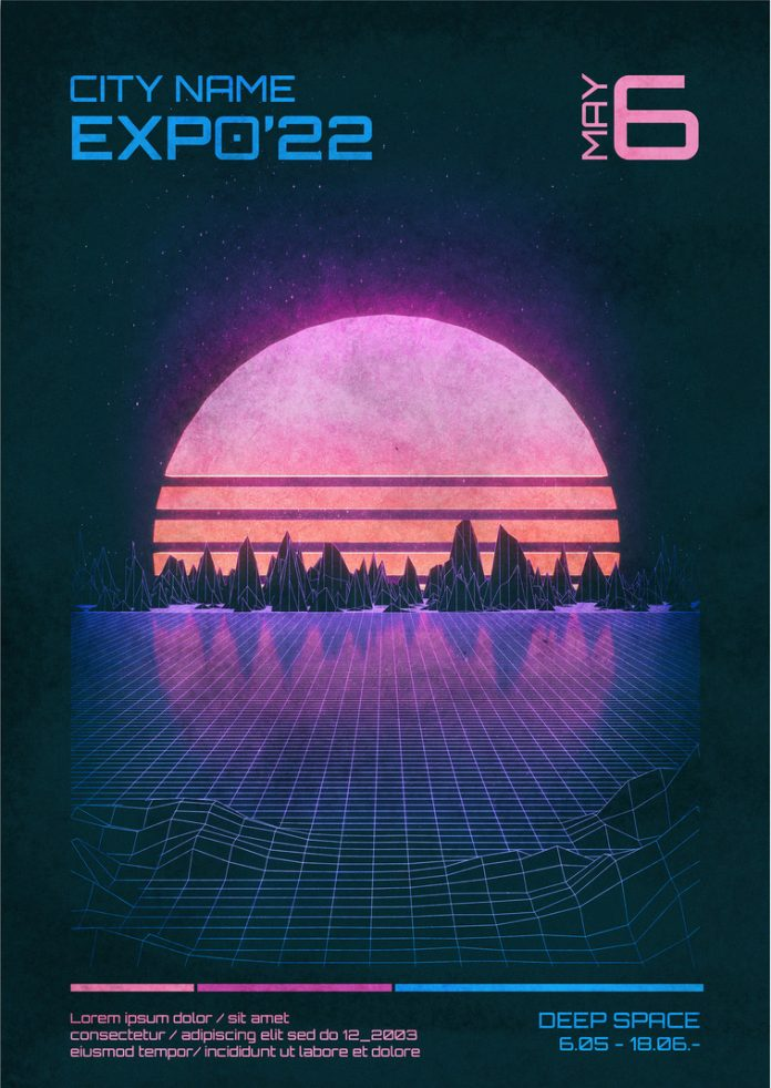 Retro 80s Sci-Fi Event Poster Template for Adobe Photoshop