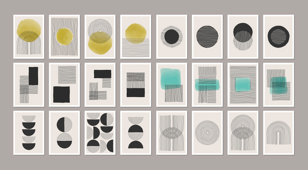 Trendy minimalist abstract and geometric graphics.