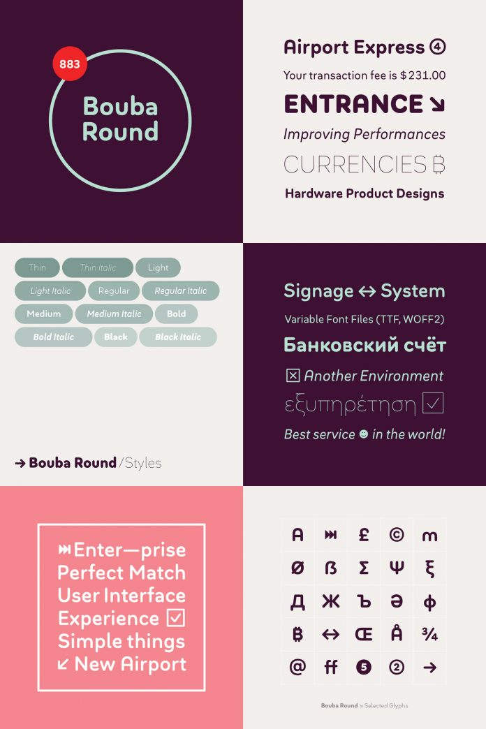 Bouba Round font family by HVD Fonts.
