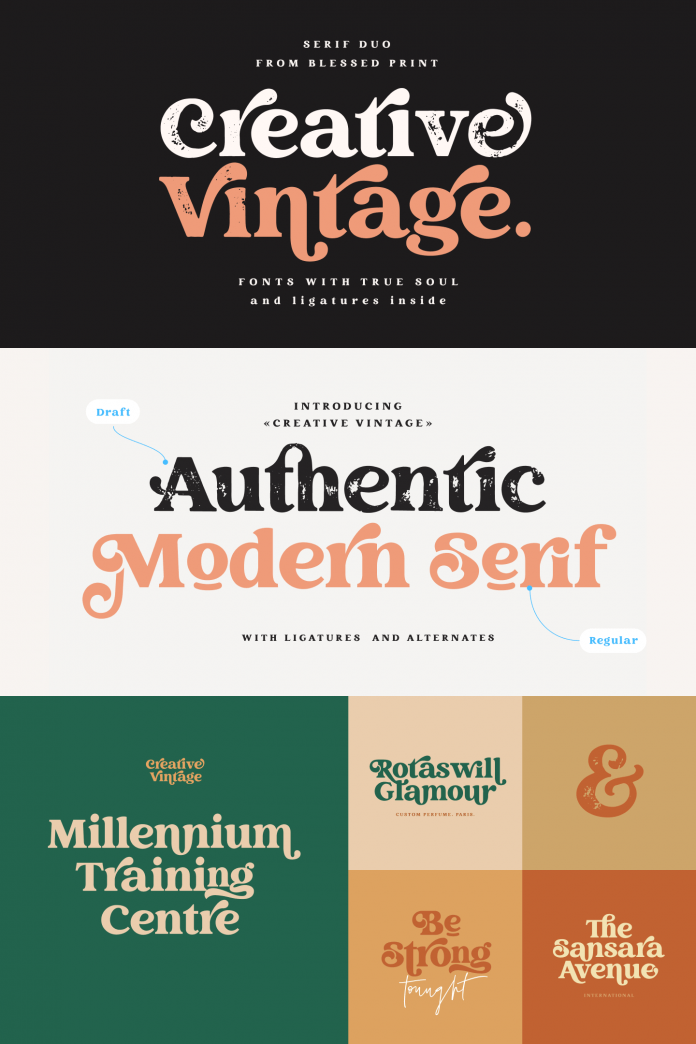 Creative Vintage Font by Blessed Prints