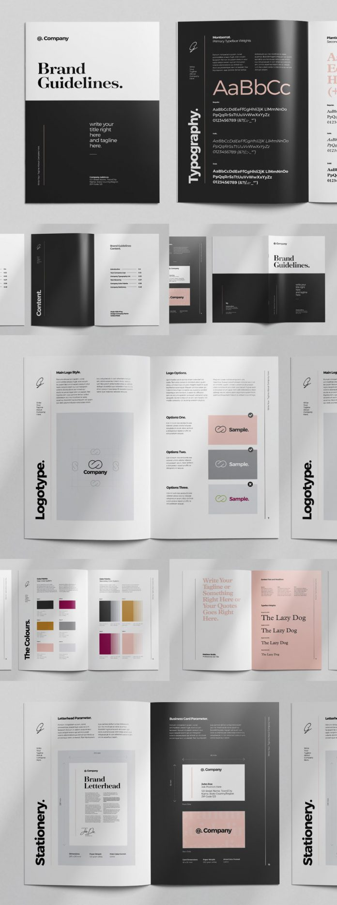 A4 and US Letter brand guidelines template for Adobe InDesign.
