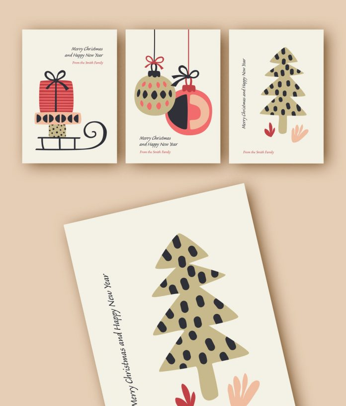 This holiday card template set with illustrations is available here.