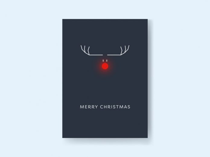The Christmas card with reindeer in the dark is available here.