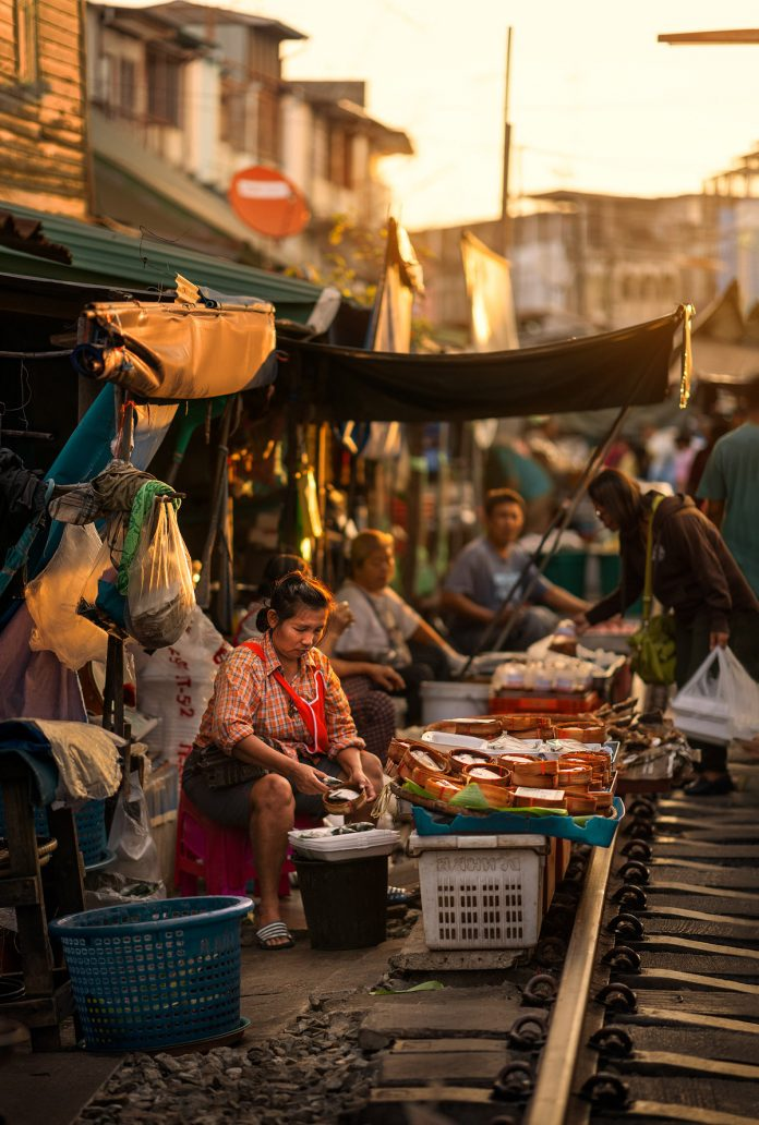 The Maeklong railway market in Bangkok photographed by Ashraful Arefin.