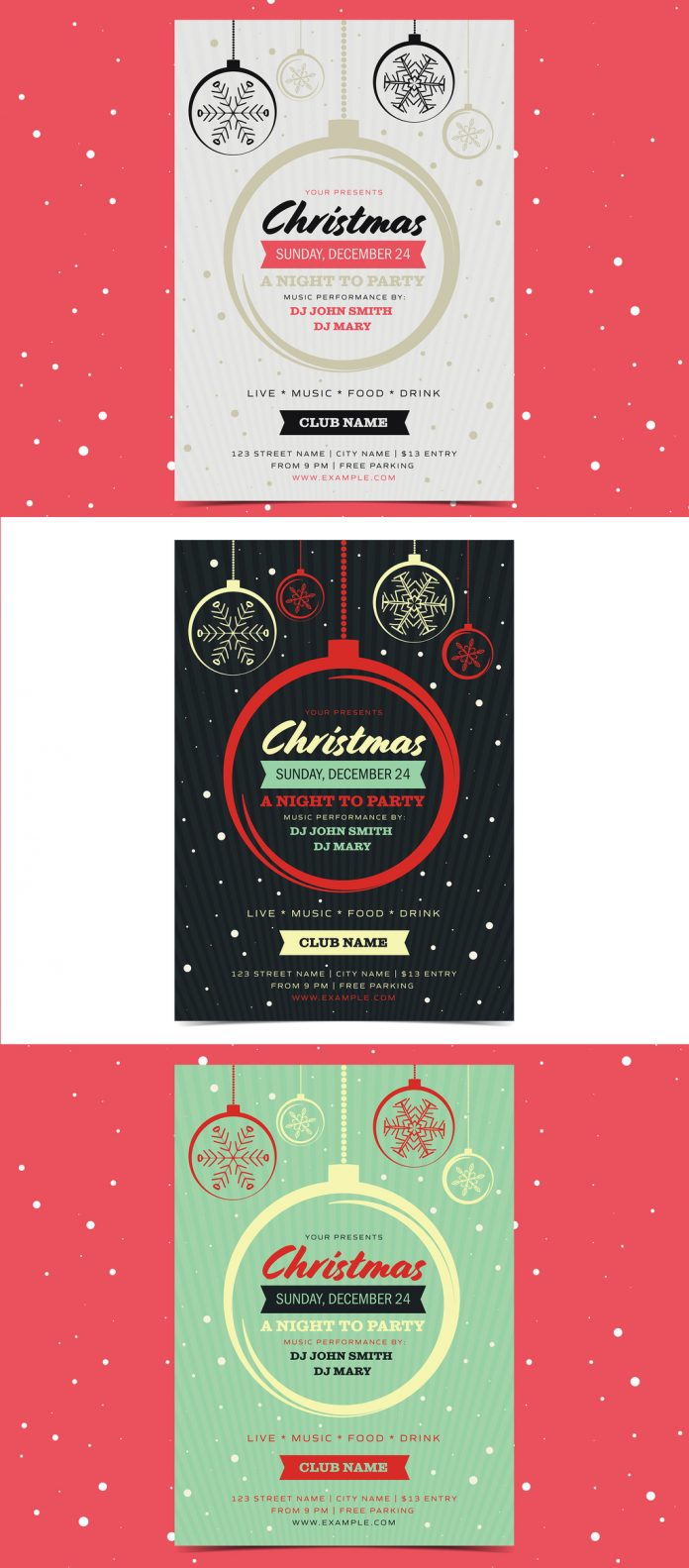 The Christmas party flyer template can be downloaded here.