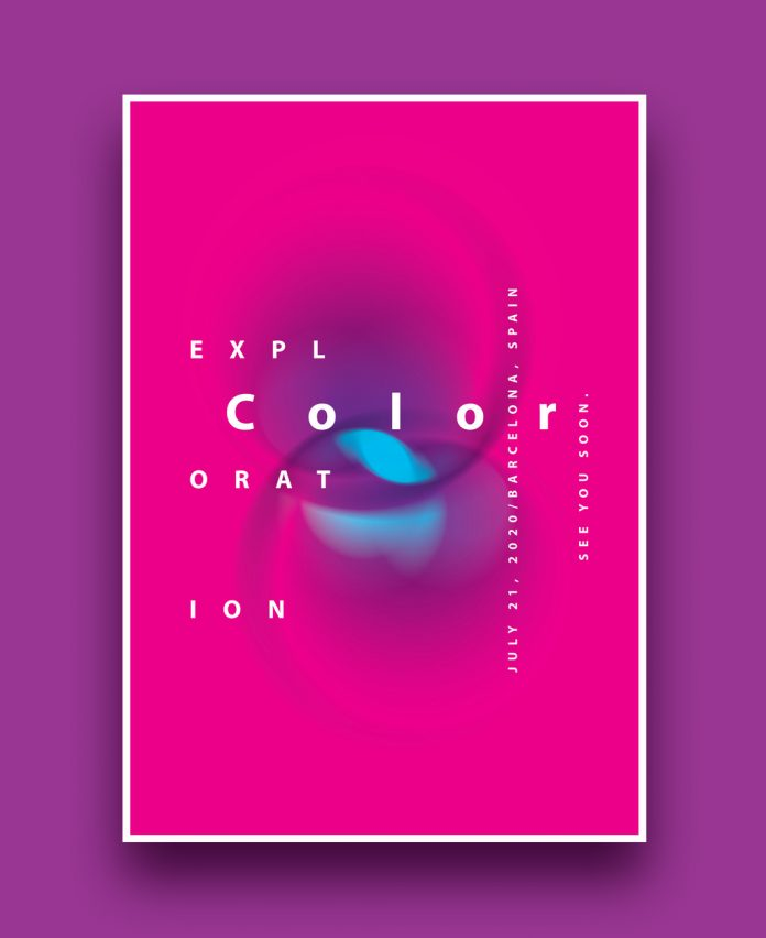 Poster template consisting of colorful abstract graphics and typography.