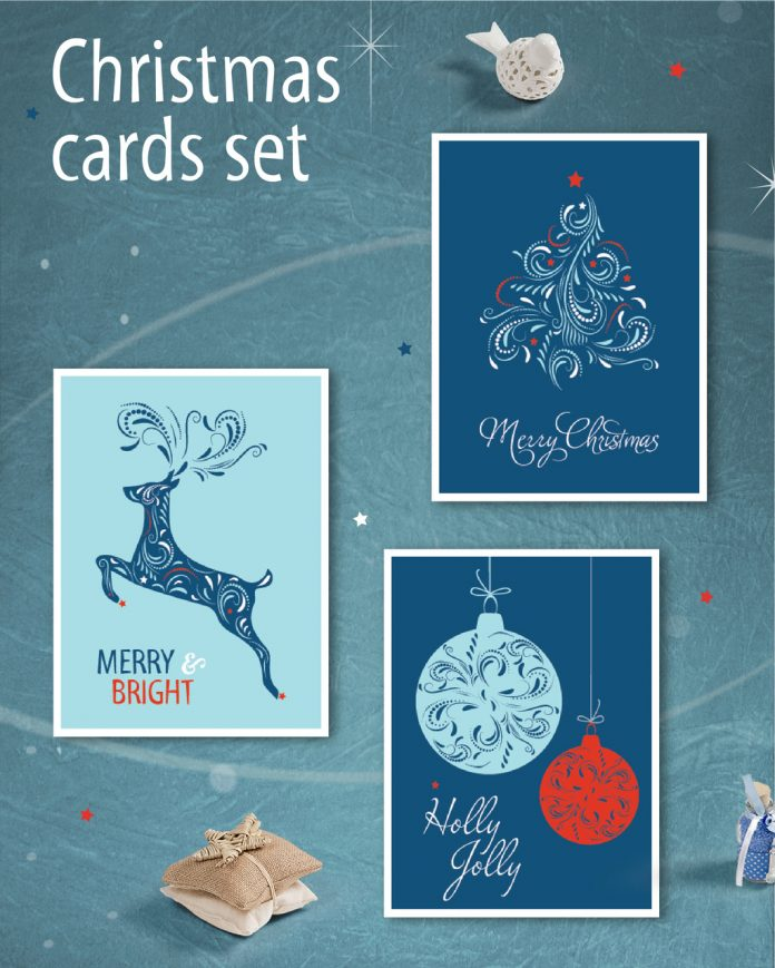 The Christmas greeting card set with intricate illustrations is available here.