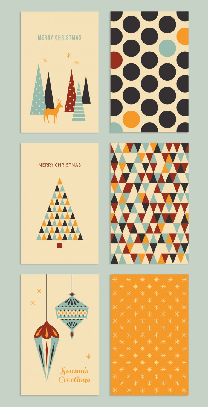 This minimalist Christmas greeting card set can be downloaded here.