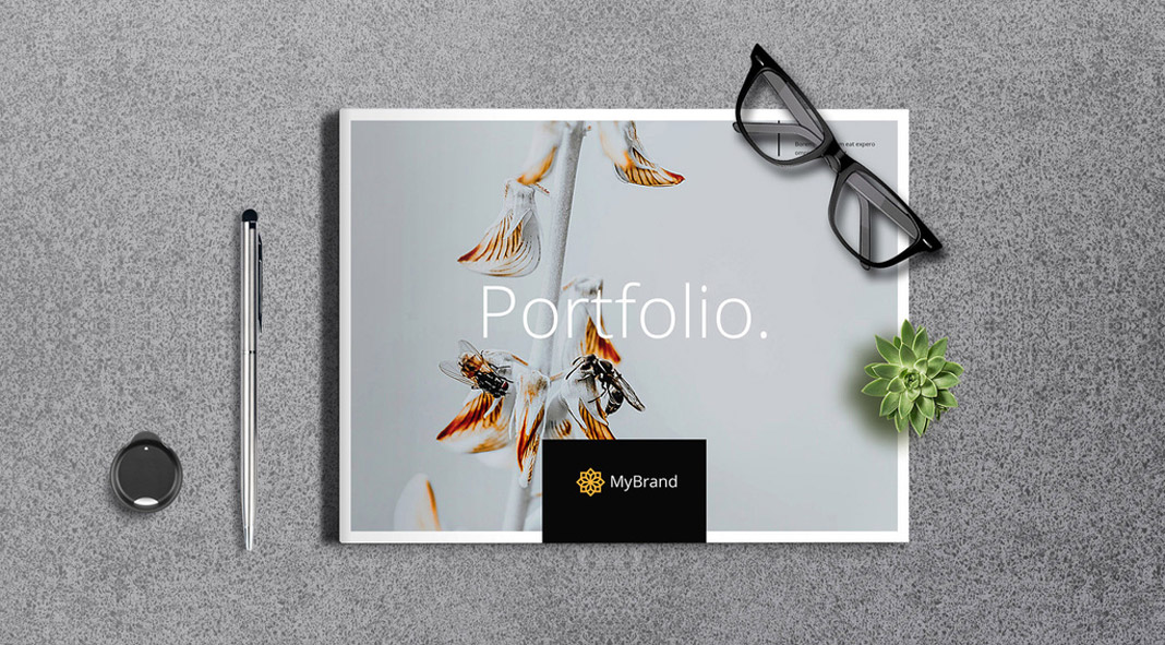 A portfolio brochure template with 24 pages for Adobe InDesign.