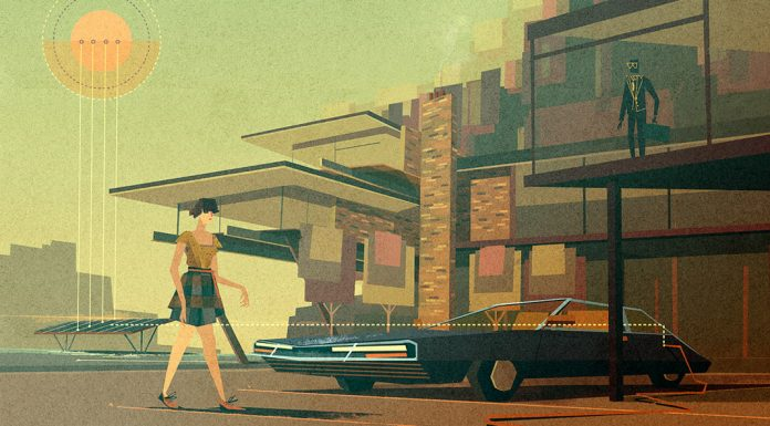 An artworks from a series of retro futuristic illustrations created by Matthew Lyons for The Daily.