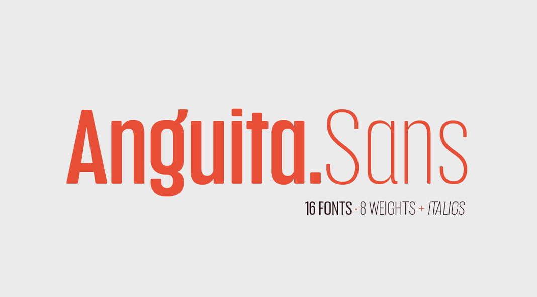 Anguita Sans font family from Latinotype.