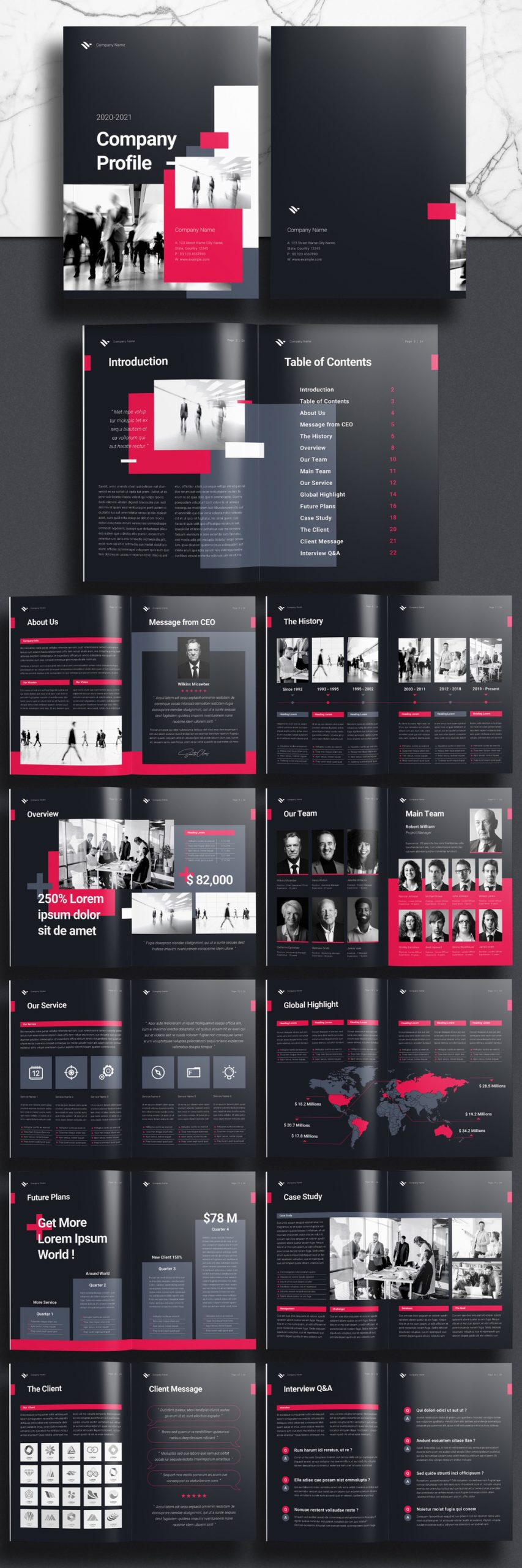 Company Profile Booklet Template for Adobe InDesign with Black and Pink Accents.