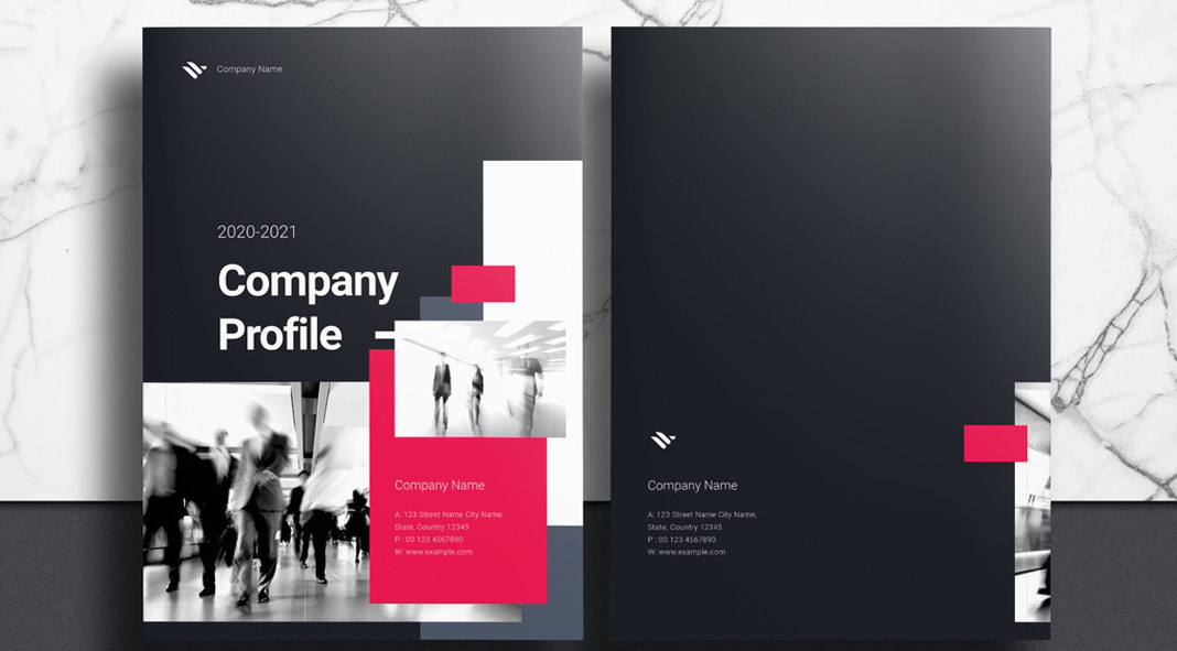 Company Profile Booklet Template for Adobe InDesign with Black and Pink Accents
