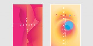Four poster templates consisting of colorful abstract graphics and typography