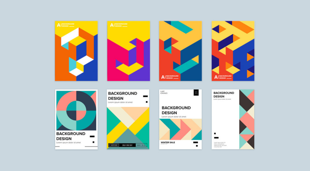 Geometric graphic design templates available for download as fully editable vector shapes.