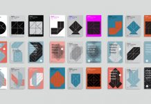 Graphic design templates based on simple geometric shapes.