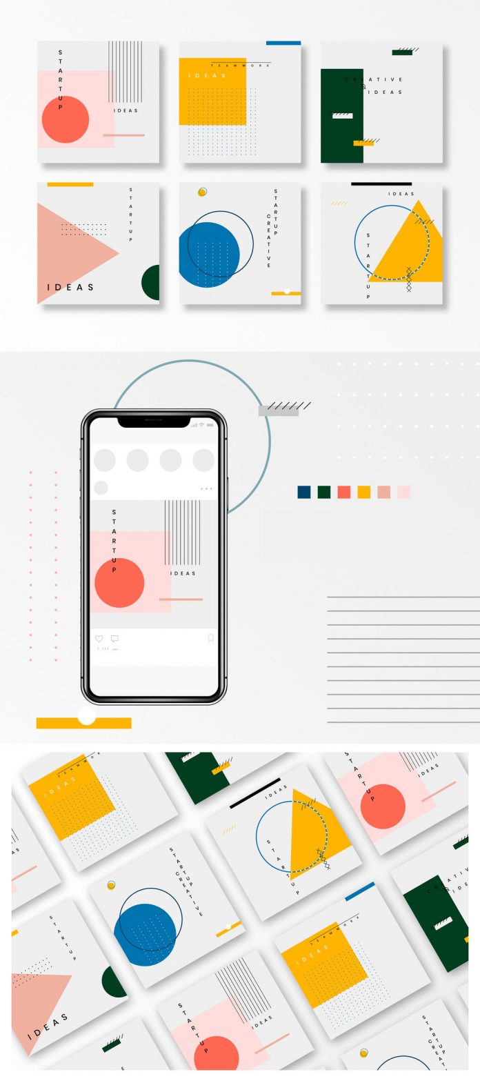 Social media post templates with thin linework and colorful geometric vector shapes inspired by Bauhaus design.