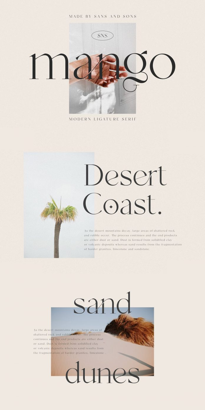 Mango serif font family by Sans & Sons.