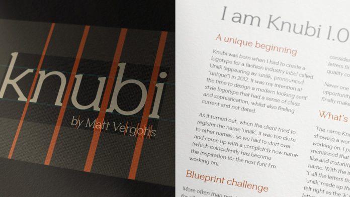 Knubi font, a typeface by Matt Vergotis.