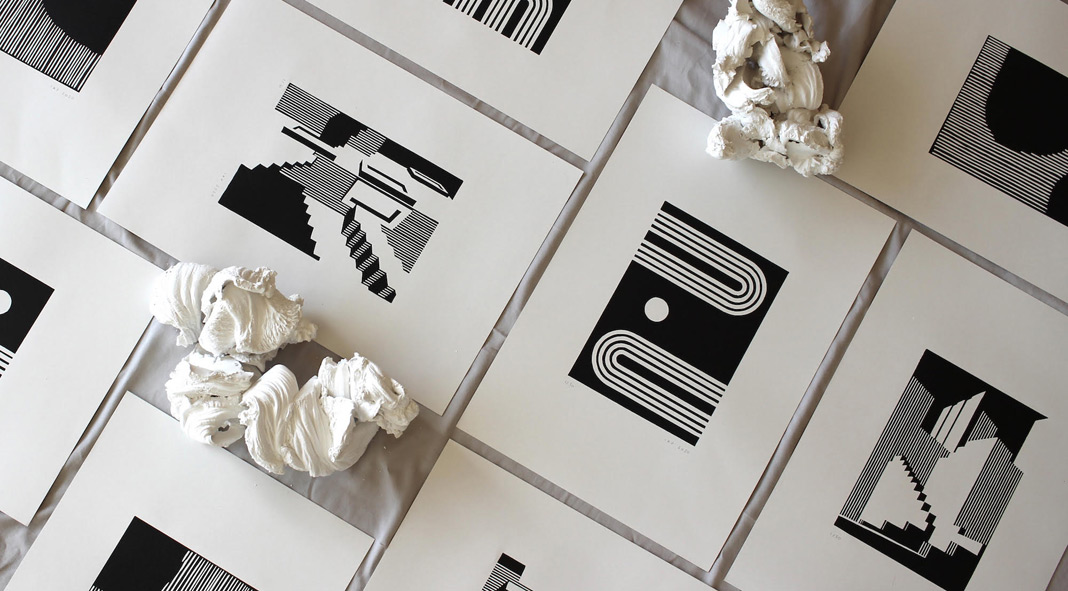 Minimalist architecture-inspired prints created by fresca studio.