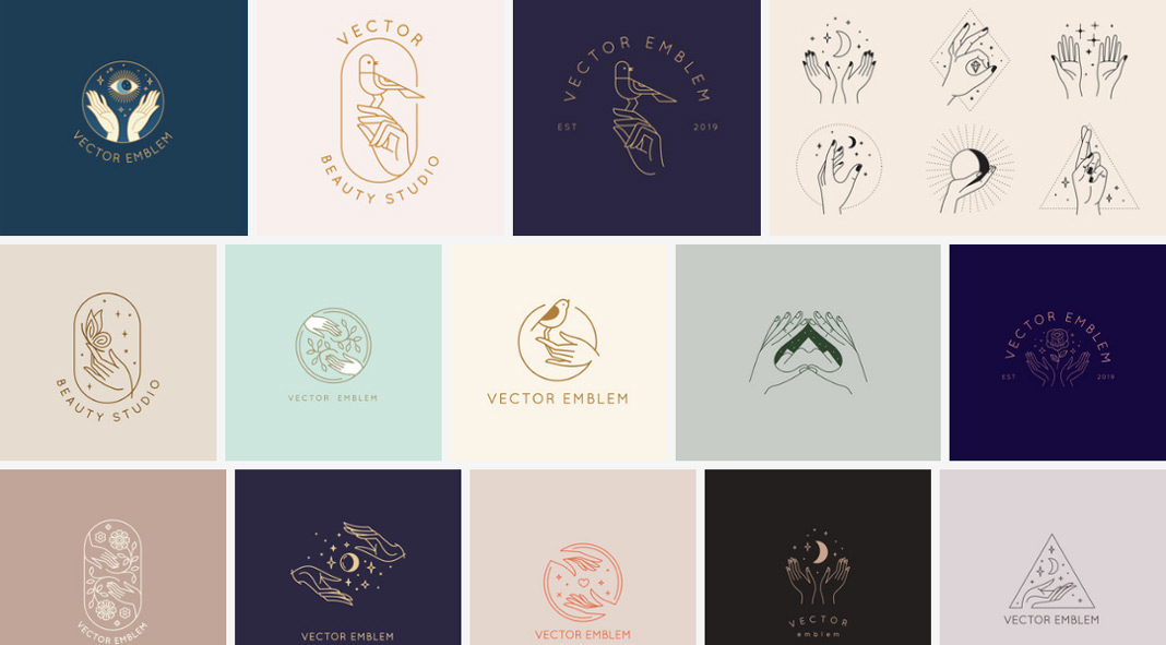 Minimalist vector symbols and logos with a feminine touch.
