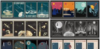 Retrofuturistic, sci-fi, and space travel-inspired poster templates.